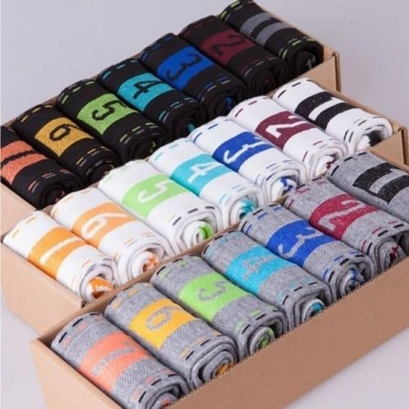Week Men's Cotton Socks New Styles 7 Pairs / Lot Colorful Business Sports Men Socks Breathable Autumn Winter For Male