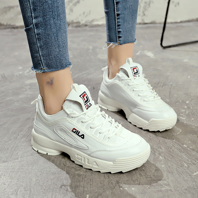 2018 обувь Белая обувь Для женщин модный бренд Ретро Платформа Кроссовки Дамская Осенняя обувь черного цвета дышащая поверхность мягкой ST314