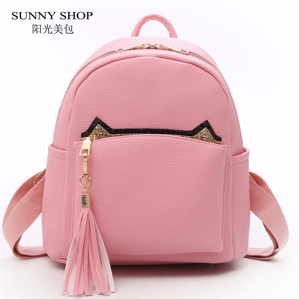 SUNNY SHOP Cute Kawaii Cat Cartoon Backpack Female With Tassel Solid PU Leather Casual Backpack For College School 2018 White sunny shop pvc clear backpack set women with straw inner bag female 2018 summer beach bagpack for girls school small kawaii pink