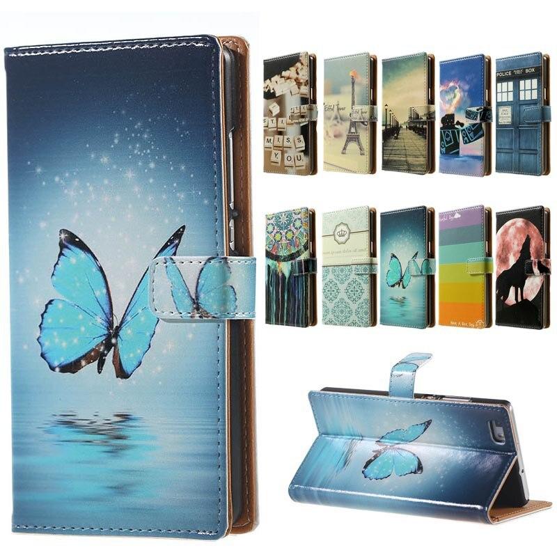 Para huawei p8 lite case azul mariposa magnética estilo de la carpeta de cuero c