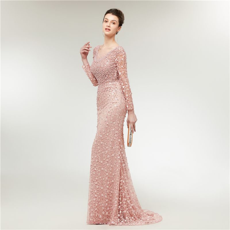 Luxe robes de soirée dentelle 2019 sirène manches longues perles cristaux rose femmes formelle Robe de soirée Robe de bal Robe de soirée - 2
