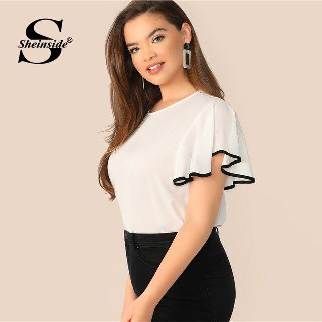 Sheinside Plus Size White Contrast Binding Flutter Sleeve Top Women 2019 Summer Flounce Sleeve Blouse Ladies Short Sleeve Tops 3