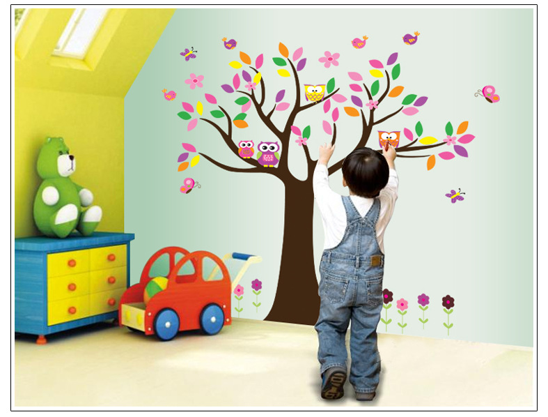 Cot Side Owl Tree Removable Wall Stickers Boys Decal Nursery Kid Art Mural Decor 60*90cm