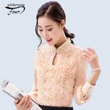 2017 новый стиль женщины с длинными рукавами повседневная рубашка лоскутная шифон блузка сексуальная цветок из бисера кружева tops women clothing 160e15