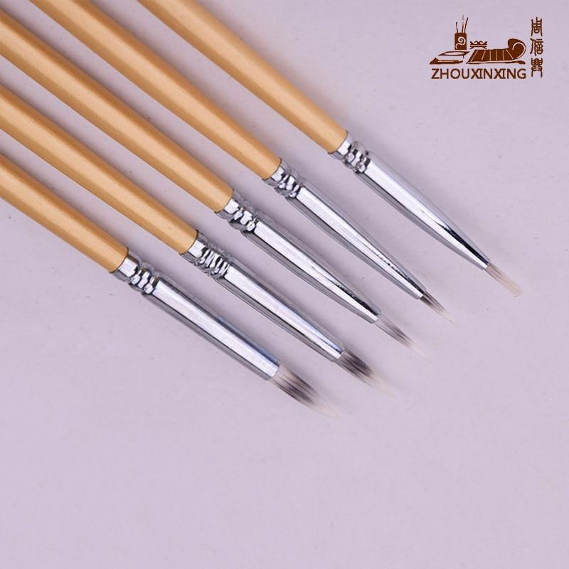 Zhouxinxing 5Pcs/Set Watercolor Pen Gold Rod Three Color Nylon Hair Hook Line Painting Brush Pen Painting Materials Art Supplies