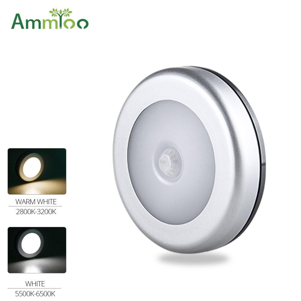 Helpful Ammtoo Pir Motion Sensor Led Cabinet Lights 6leds Round Wireless Closet Cabinet Lamp For Kitchen Bedroom Corridor Stair Lighting Superior Materials Under Cabinet Lights