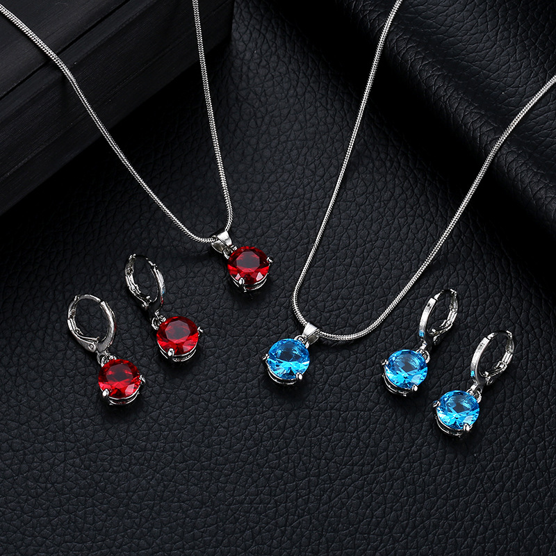 New hot fashion temperament jewelry necklace /earrings two-piece round multicolor crystal pendant set(China)
