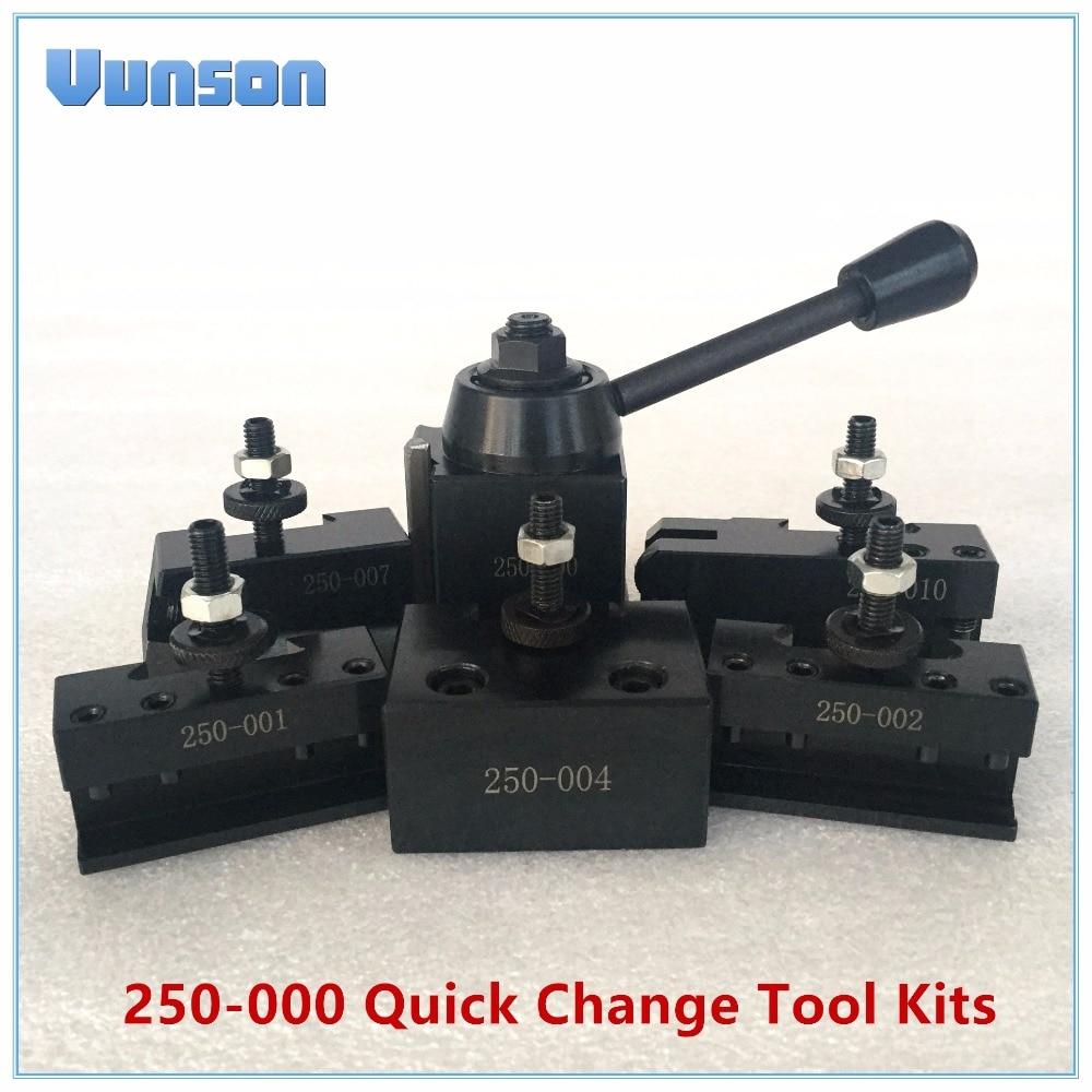 250-000 Mini Wedge GIB Type Quick Change Tool QCT Kits 1pcs 000 Tool Post Turret+5pcs Tool Holders For Woodworking Mini Lathe
