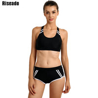 Riseado Sports Swimwear Women Bikini Set 2017 Cross Bandage Low Waist Swim Wear Summer Beach Swimsuit
