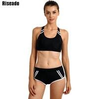 Riseado Sports Swimwear Women Bikini Set 2017 Cross Bandage Low Waist Swim Wear Summer Beach Swimsuit