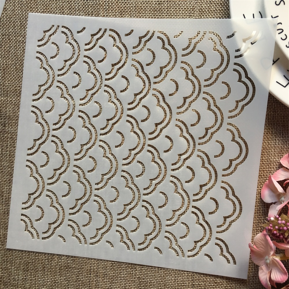 1Pcs 8*8inch Cloud Wavy Texture DIY Layering Stencils Painting Scrapbook Coloring Embossing Album Decorative Template