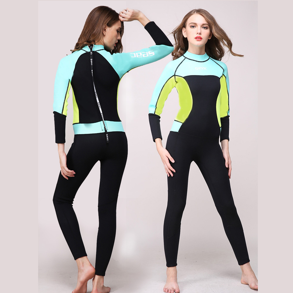 Hisea seac 3mm Neoprene Women one piece Wetsuit Premium Full body Wetsuits Girls Diving Suits Scuba Surfing Sknorkeling sbart 3mm wetsuit scuba diving suit neoprene wetsuit men fishing surfing wetsuits full body one piece dive surf wet suits