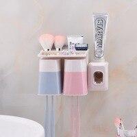 1 PCS fixado na parede do banheiro criativo conjunto escova de dentes titular otário racks de escova de dentes com um copo creme dental automaticamente