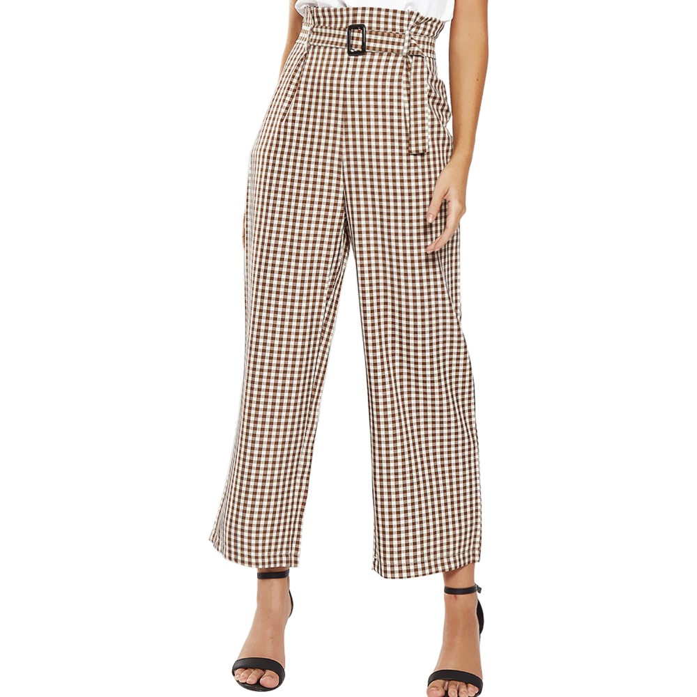 High Waist Sashes Plaid Wide Leg   Pants   Women Autumn Trousers Chic Casual   Pants     Capris   Female Office Ladies Pockets Trousers 2018