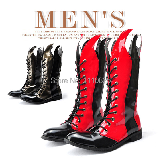 ФОТО Free shipping New 2014 Martin fashion personality spell color with a men's boots Personality trend of high cylinder Martin Boots