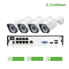 4ch 5MP POE Комплект H.265 система видеонаблюдения безопасности до to16ch NVR наружная Водонепроницаемая ip-камера видеонаблюдения сигнализация видео P2P G. Craftsman