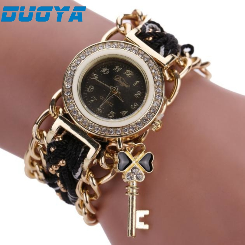 Excellent Quality Duoya Brand Watch Women Weave Hand Watches Luxury Crystal Key White Analog Quartz Watch For Ladies