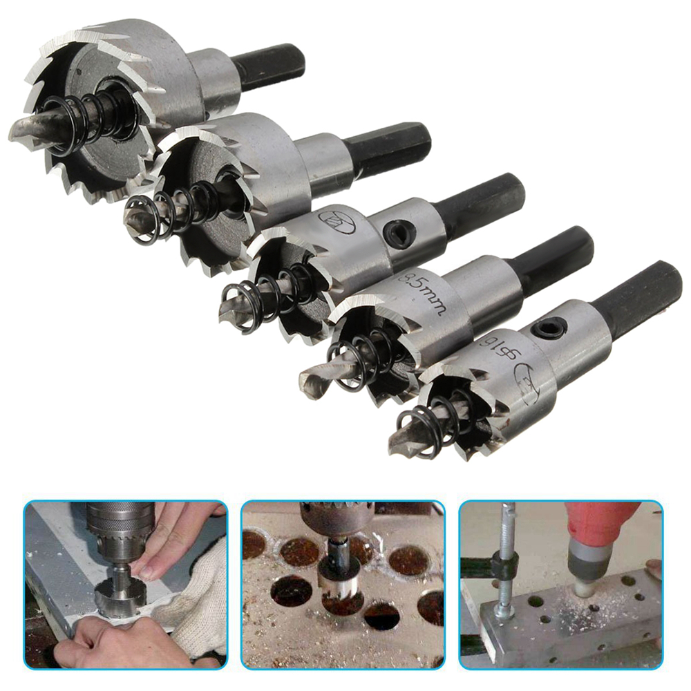 5PCs Carbide Tip HSS Drill Bit Hole Saw Set Metal Wood Drilling Hole Cut Tool For Installing Locks 16mm/18.5mm/20mm/25mm/30mm