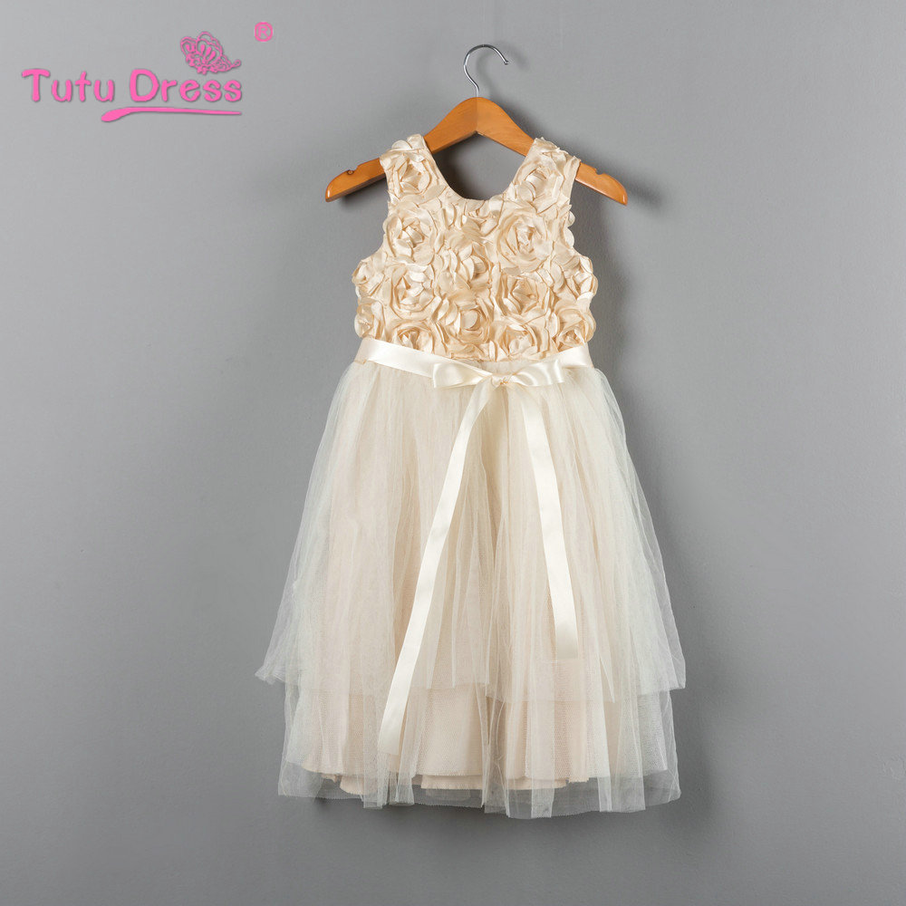 2017 Summer New Kids Dress Princess Party Costume Infant Clothing Cream Rosette Baby Clothes Birthday Girls Tutu Dresses недорого