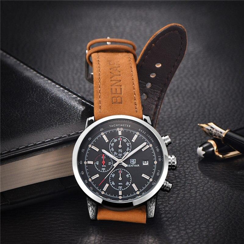 Image 3 - Relogio Masculino BENYAR Watches Mens Top Luxury Brand Chronograph Sport Man Watch Military Leather Clock Quartz Wristwatch 5102-in Quartz Watches from Watches