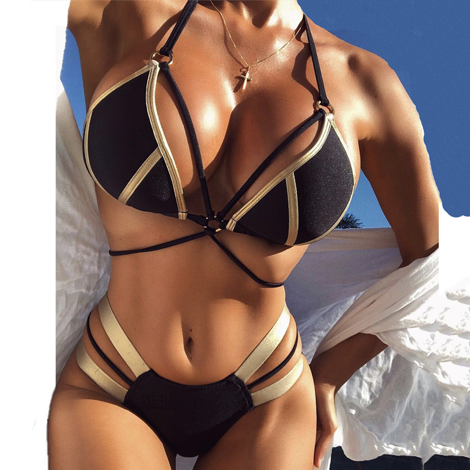 String Bikini Push Up 2018 Sexy Bronzing Halter Swimwear Female Swimsuit Bathing Suit Women Bandeau Brazilian Thong Bikinis Set embroidered halter string bikini set