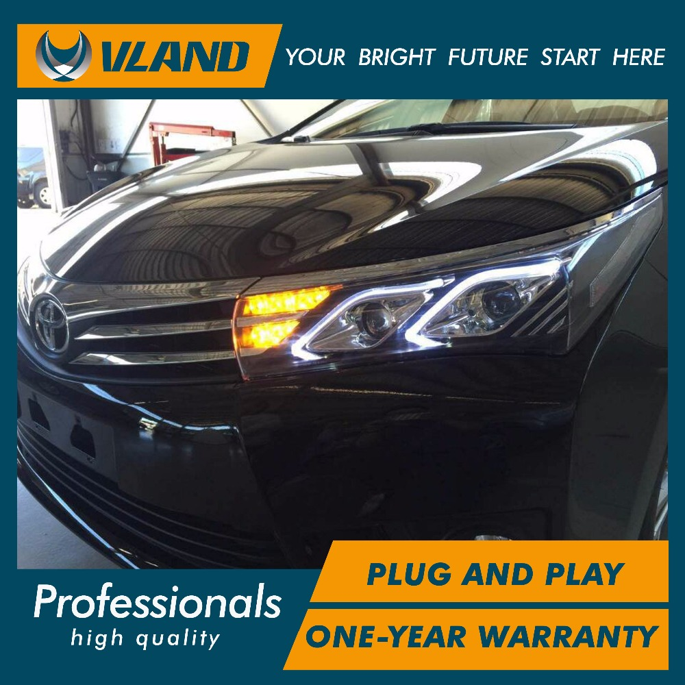 Free shipping Vland aoto car styling for Corolla Altis 2014-2016 LED  headlight with lxs model headlamp