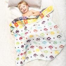 6 Layers Muslin Cotton Baby Blankets Swaddles Newborn Wrap Gauze Crown Children Infant Bath Towel Size 110x110cm