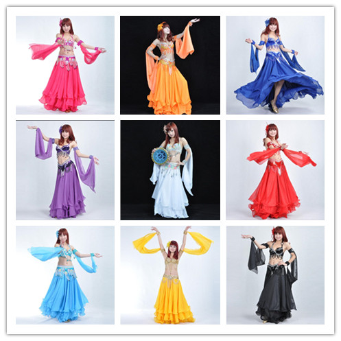 12 Colors 1 Piece  Belly Dance Costume Accessories  Arm Sleeves Wrist Adjustable Chiffon Sleeve Sequins Armbands 88 Cm Length