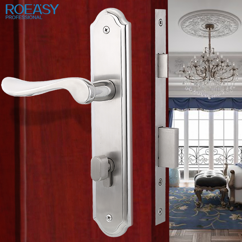 ROEASY 304 grade stainless steel handle lock, door lock for bedroom, brief and modern europe standard 304 stainless steel interior door lock small 50size bedroom big 50size anti shelf strength handle lock