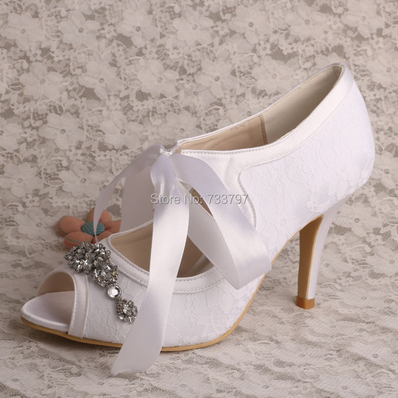 ФОТО Elegant Rhinestone Pumps Mary Jane White Woman Shoes Wedding Open Toe