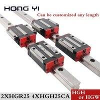 25 мм 2 шт. линейный рельс HGR25 ЧПУ части и 4 шт. HGH25CA или HGW25CC линейные направляющие блок HGW25CC hgh25 Бесплатная доставка