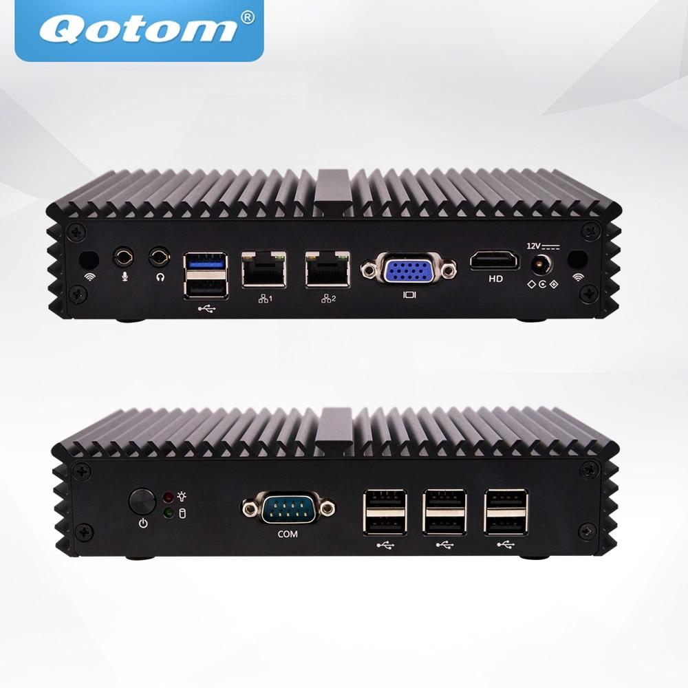 QOTOM Q190SE Mini PC Bay Trail j1900 Quad core 2.0 GHz Fanless Mini Desktop PC Linux oem industrial barebone mini desktop pc bay trail j1900 fanless mini pc server linux ubuntu quad core x86 mini computer