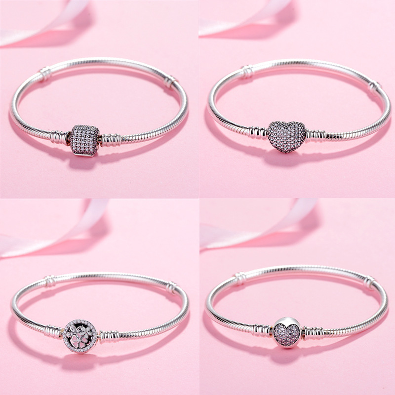 Bracelet Bangle Moments 925-Sterling-Silver Original Jewelry Charm Pave Heart-Clasp