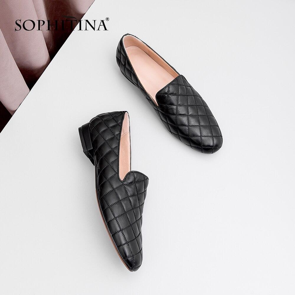 Ayakk.'ten Kadın Topuksuz Ayakkabı'de SOPHITINA kadın Flats Hakiki Deri Rahat Şemsiye Slip On Yuvarlak Ayak Katı Ayakkabı El Yapımı Bahar Moda Dikiş Daireler MO69'da  Grup 1