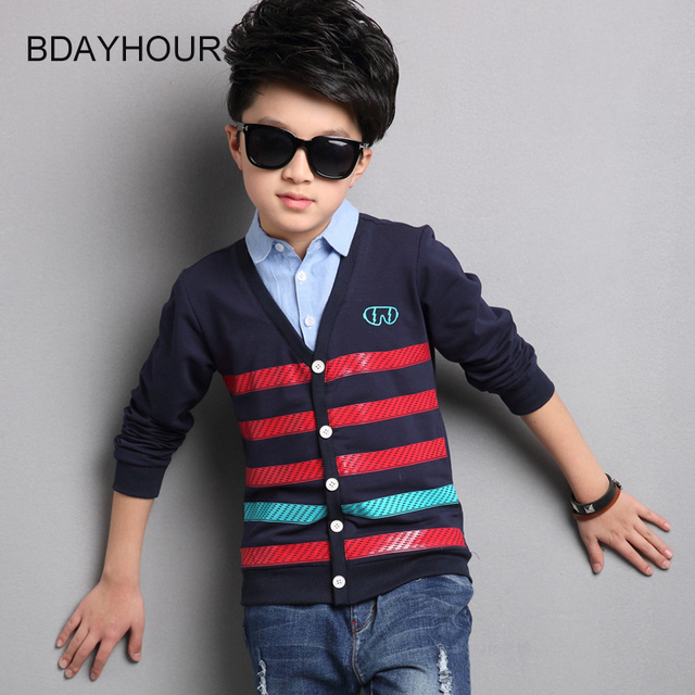 Turn-Down Collar Striped Long-Sleeved Cotton Casual Boy T-Shirt 2017 Spring New Korean Boy Fake Two-Piece Long-Sleeved T-Shirts