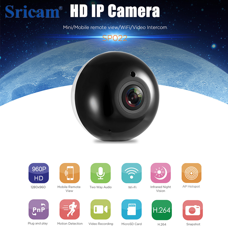 цена OriginalSricam SP022 Dome Fisheye IP Camera 960P HD 360 Degree Mini WiFi Wireless Camera 1.3MP Home Security IR Panoramic Camera онлайн в 2017 году