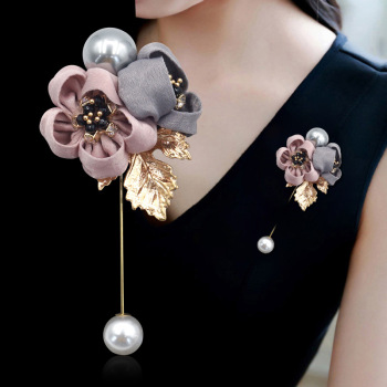 i-Remiel Ladies Cloth Art Pearl Fabric Flower Brooch Pin Cardigan Shirt Shawl Pin Professional Coat Badge Jewelry Accessories