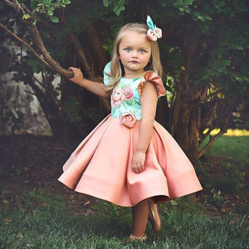 Baby tutu princess dress bridesmaid formal wedding party flower dresses kid girl