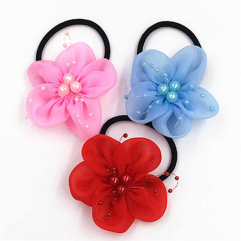 2pcs/lot Hot sale girl Hair circle cute Trendy Hair bands chiffon pearl flower elastic Hair Rope  Hair Accessories for girls