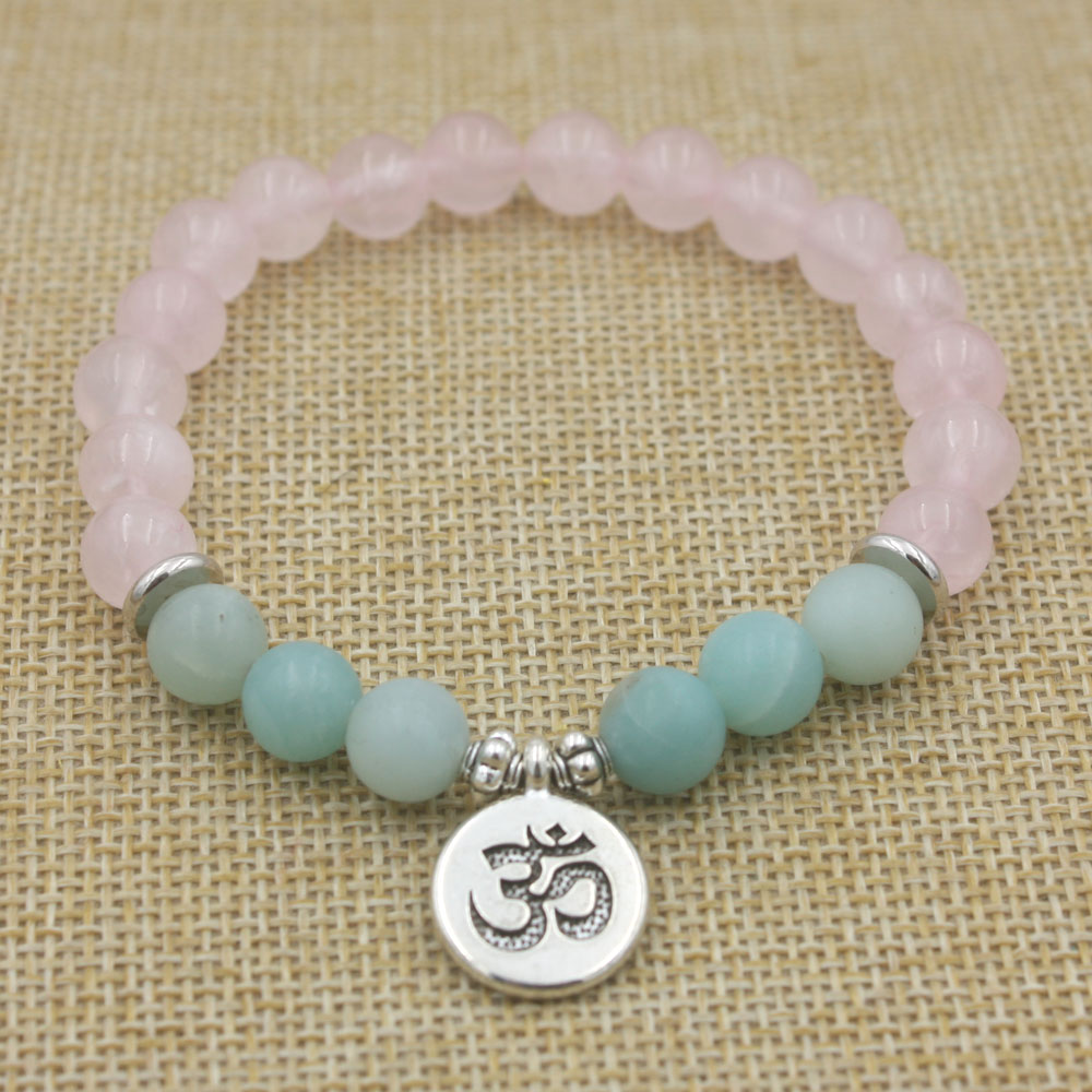 Rose Quartz and Amazonite Mala Bracelet 1