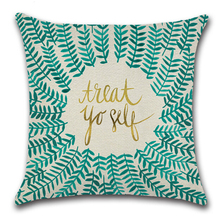 Square Cotton Linen Cushion Covers Plant Print Throw Pillow Cases Cover 45 Flower Wreath Letter Monogram Sofa Car funda almohada