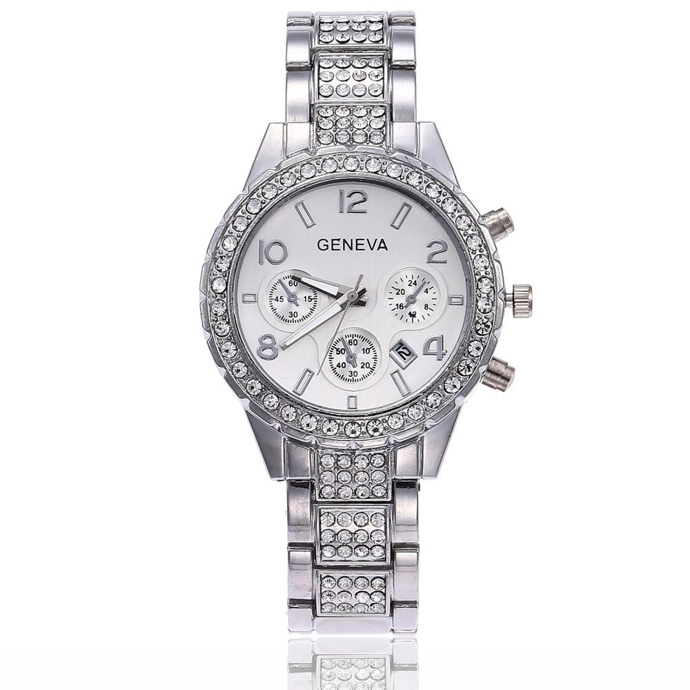 Women Quartz Watch Fashion Bling Casual Ladies Watch Female Complete Calendar Quartz Gold Watch Crystal Diamond For Women Clock