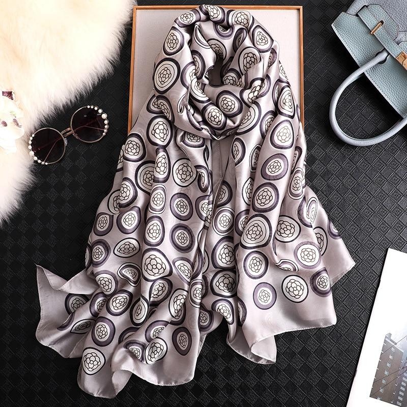 New Silk Scarf Women Brand Design Floral Print Shawls And Wrap Elgant Lady Travel Pashmina Foulard Bandana Winter Scarves Hijab