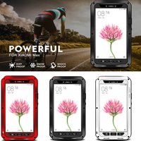 100 New LOVE MEI Life Waterpoof Shockproof Dual Aluminum Metal Case Tempered Glass Cover For