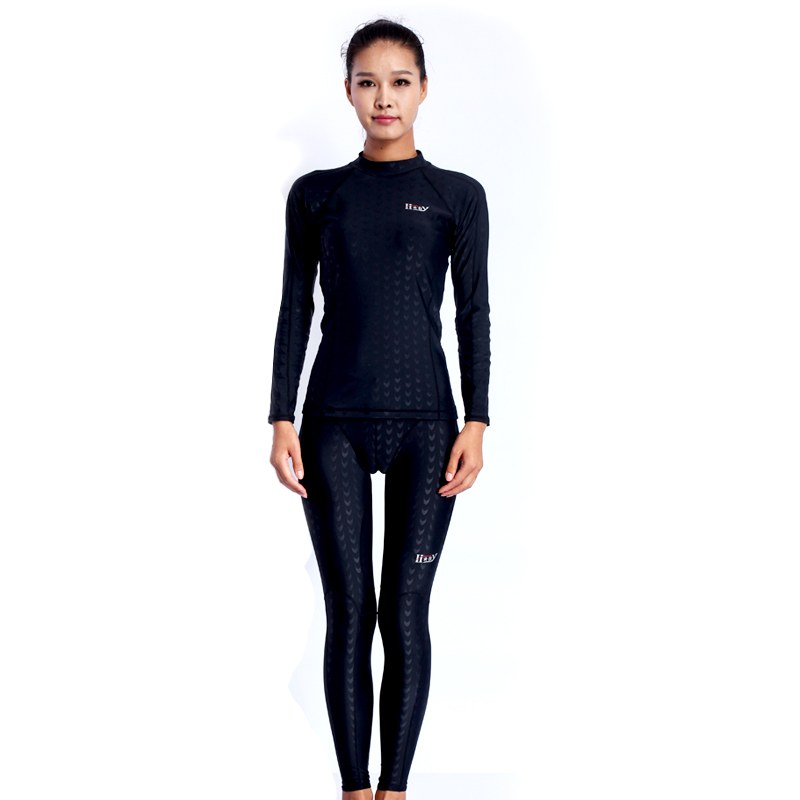 HXBYswimwear men swimming woman long swim pants racing women competition Swimsuit T shirt suit competitive swimsuits female competition racing one piece swimsuit