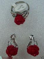Jewelry Heart Red Jade Flower Stud Earring Ring Set 5 23