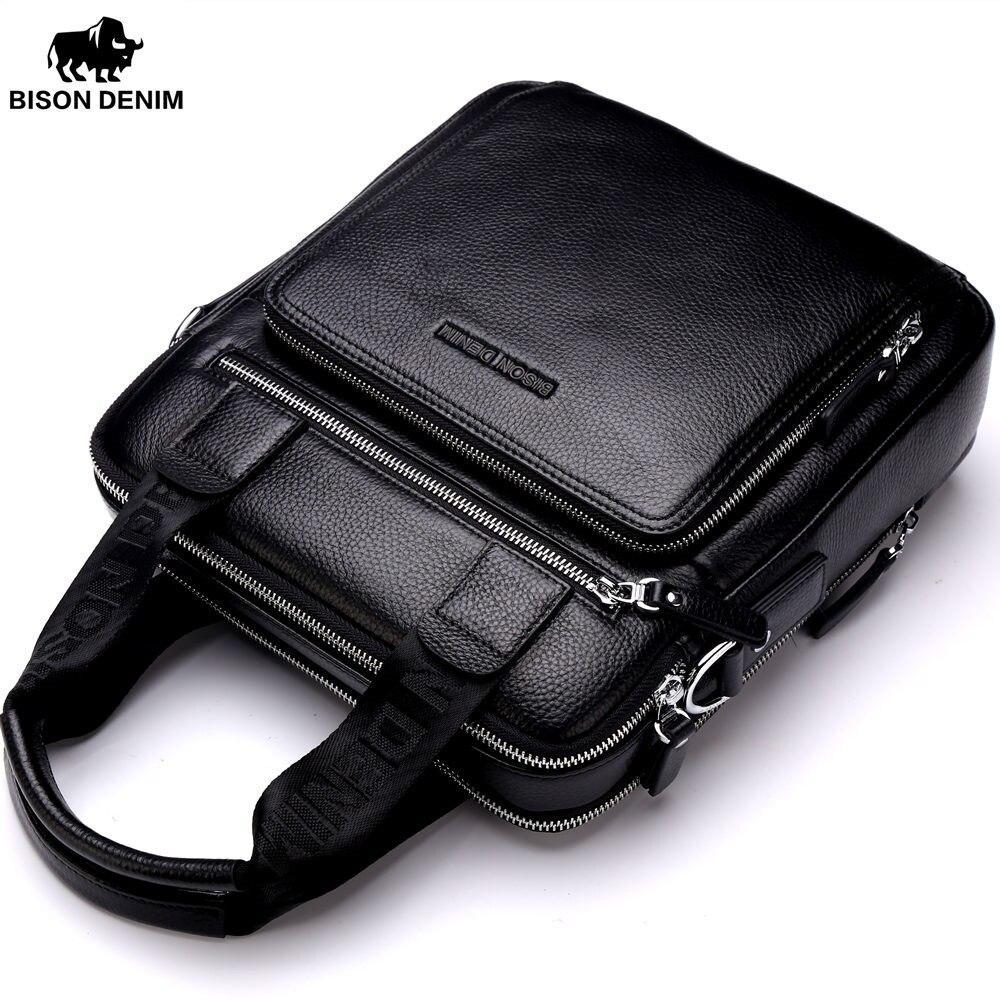 BISON DENIM Genuine Leather Guarantee Mens Briefcase Business Handbag High Quality Messenger ipad Laptop Bag Mens Tote N2333-2