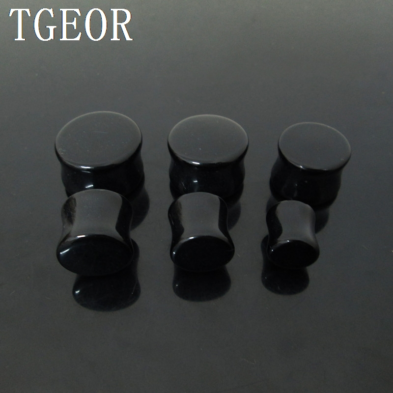 wholesale piercing body jewelry 120pcs mixed gauges black ear expander saddle acrylic ear plug free shipping