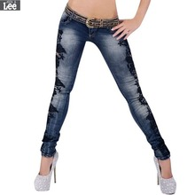2016 New Women Denim Jeans Sexy Fashion Lace Crochet Hollow Slim Fit Skinny Casual Trousers