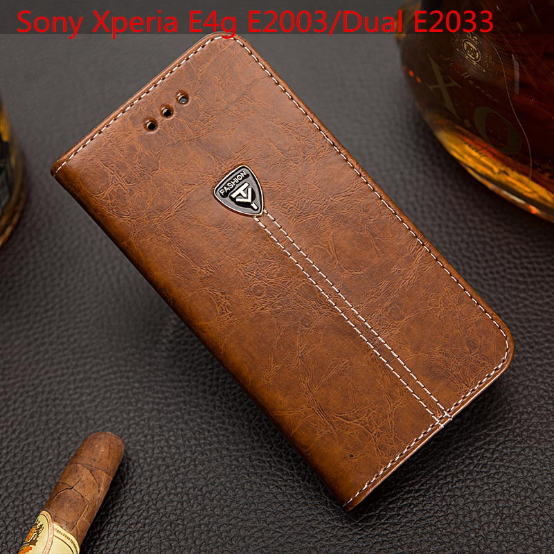 EFFLE Magnetic Leather walled stand cover Case for flip Sony Xperia E4g E2003/Dual E2033 Mobile Phone Bags